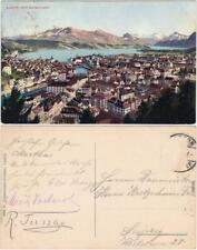 Luzern Lucerna Panorama vom Gütsch aus  Ansichtskarte Tessin  1918