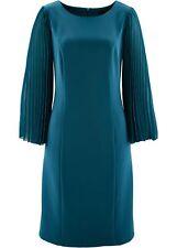 Kleid mit Plissee-Ärmeln  Gr. 36 Blaupetrol Cocktailkleid Kurzes Abendkleid Neu