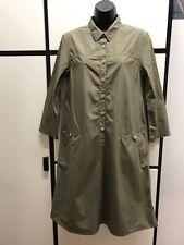Margaret Howell S Cotton Olive Khaki Long Sleeved Collar Shirt Dress MHL II