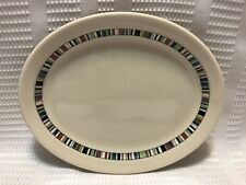 Syracuse China-Econo Rim Restaurant Ware- Multi-Color Band Oval Plate
