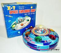 X-7 SPACE EXPLORER SHIP 1950s MASUDAYA Modern Toys Vintage Working Tin Toy Japan