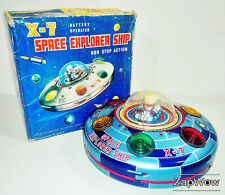 X-7 SPACE EXPLORER SHIP 1960s MASUDAYA Modern Toys Vintage Working Tin Toy Japan