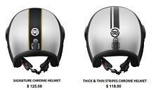 Genuine Royal Enfield Open Face (Signature Chrome / Thick & Thin Stripes) Helmet