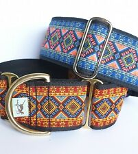 "Greyhound / lurcher/ whippet  Martingale Dog Collar 2"" deep Aztec"