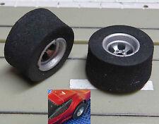 Pour slotcars maquettes -- 2 jantes avec pneus neufs pour AFX Dragster véhicules