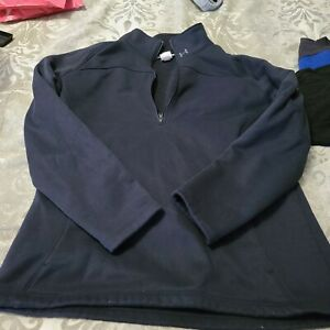 Under Armour Women's Size XL Black Half Quarter Zip Semi-Fitted Pullover