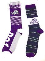 TCU Horned Frogs Purple & White/Dark Gray & White Two Pack Crew Socks