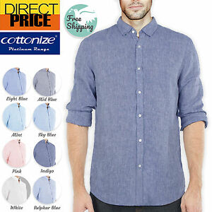 Linen Shirts Mens 100% Pure Linen Shell Button Casual Comfy Soft Long Clearance