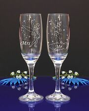 Mrs & Mr Peter Pan and Tinkerbell Set of 2 flutes,Wedding champagne glasses/239