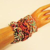Set of 3 Orange Black Mix Handmade Beaded Stretch Elastic Seed Bead Bracelets
