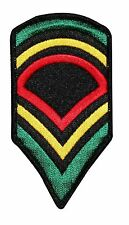 Rasta Army Stripes Chevrons  Embroidered Iron On Badge Applique Patch FD