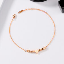 Sommth Heart Rose Gold GP Link Chain Surgical Stainless Steel Ankle Bracelet