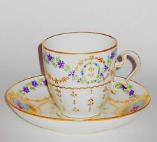 Genuine Sevres Artist Signed Hand Painted Porcelain Cup/Saucer 1900/1901 QUALITY