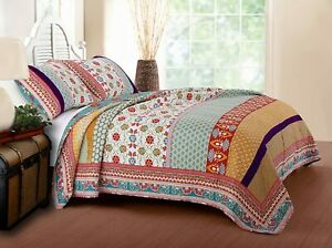 NEW! ~ COZY CHIC COTTAGE RED PINK GREEN BLUE GOLD BOHO BOHEMIAN SOFT QUILT SET