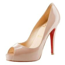 Christian Louboutin Very Prive 120 Nude Patent Peep Toe Shoes Heels Uk7.5 Eu40.5