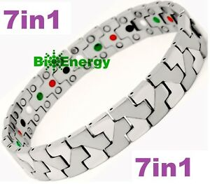 TITANIUM Magnetic Energy Armband Power Bracelet Health Bio 7in1 Bio