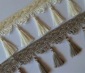 Large luxury tassel trim fringe 8.5 cm width - for curtains blinds - 12 colours