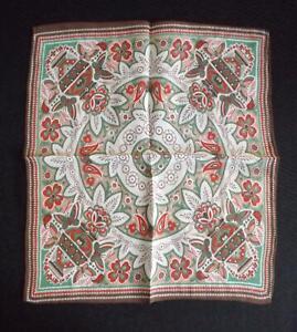 1920 1930s Art Deco Silk Crepe Unused Printed Handkerchief