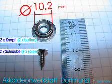 2x Knopf für Akkor. Balghalter,Balgverschluss,Balgriemen,button for bellow strap