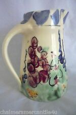 "Flower Garden Pitcher Blue Burgundy Green Yellow Hand Painted 6 1/2"" Tall Heavy"