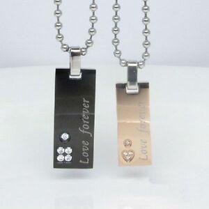 Partner Necklace Love Forever Stainless Steel Heart Pendant Chains Black PK59