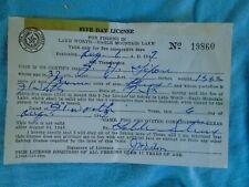 vintage Texas Fishing License, 1949 Lake Worth- Eagle Mountain Lake