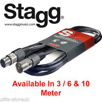 Stagg Microphone Mic Cable SMC 3, 6, 10 Meter XLR Male XLR Female Bargain Price