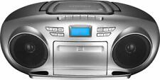 Insignia- AM/FM Radio Portable CD Boombox with Bluetooth - Silver/Black