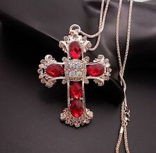 Fashionable Red Cross Pendant sweater chain crystal Long necklace XL91