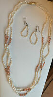 Vintage Lucoral Pink Angel Skin Coral & Pearl Three Strand Necklace Earrings 24""