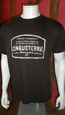 Large Dark Brown Crew Neck Graphic Front Short Sleeve T Shirt by BC Collection