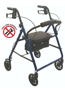 Lightweight Folding Rollator Walker With Wheels, Soft Seat by Wave Medical, BLUE