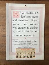 ANTIQUE FEBRUARY 1924 CALENDAR OSBOLDSTONE CO MELBOURNE PRINTER VINTAGE CARD