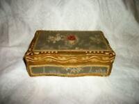 ITALIAN FLORENTINE GILT WOOD BOX GESSO BROCADE COVERED LINED VINTAGE MID CENTURY