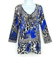CACHE Cardigan Sweater M Long Sleeve Blue Animal Print Crystals Zipper Stretch