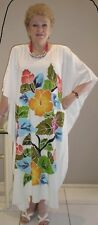 Long Kaftan Dress Classic Boho Hand Painted Plus Size Stunning, size 16-24 New