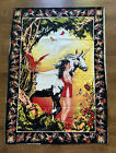 Vtg UNICORN and FAIRY Fairies Butterfly TAPESTRY Wall Hanging Boho Decor Art