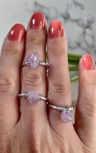 Light Amethyst gemstone chip Wire wrap Ring Adjustable Crystal chakra heal reki