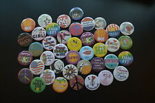 Huge Lot of 40 Buttons pins Slightly Irregular Free S/H pinbacks badges award A