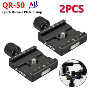 2PCS QR-50 Quick Release Clamp Plate For Arca SWISS Manfrotto Tripod Ball Heads