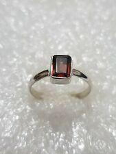 Natural Garnet Gemstone Ring Solid Sterling Silver marked 925 Ring Size N1/2~O