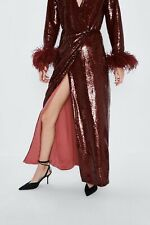 ZARA LIMITED EDITION BURGUNDY WRAP SEQUIN MAXI DRESS FEATHER TRIMS SIZE S RR£149