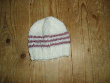 New hand knitted cream & heather striped  baby beanie hat 0-3 months