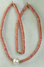 VTG 1990'S 14K GOLD CORAL 13MM PEARL NECKLACE