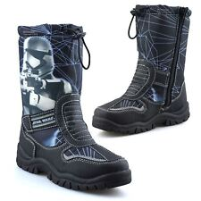 Boys Kids Star Wars Zip Up Waterproof Warm Fur Winter Snow Wellington Boots Size