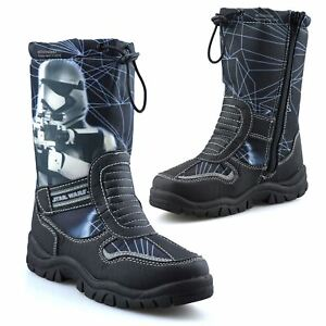 Boys Kids Star Wars Zip Up Waterproof Warm Fur Winter Snow Wellington Boots Size