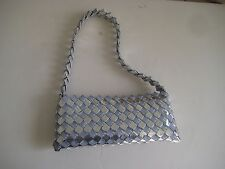 Women's Purse Made out of food Wrappers Handmade Unique Blue/silver NWT