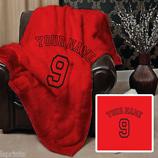 PERSONALISED RED FOOTBALL DESIGN SOFT FLEECE BLANKET COVER LARGE CHAIR THROW BED