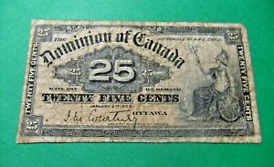 1900 Dominion of Canada 25 Cent Bank Note - VG