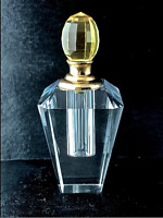 Large Crystal Perfume Bottle 8023 Faceted Full Cut Lead Decorative Dauber Gold
